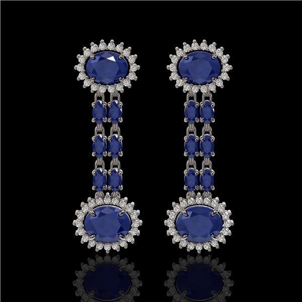 10.23 ctw Sapphire & Diamond Earrings 14K White Gold - REF-227K3Y
