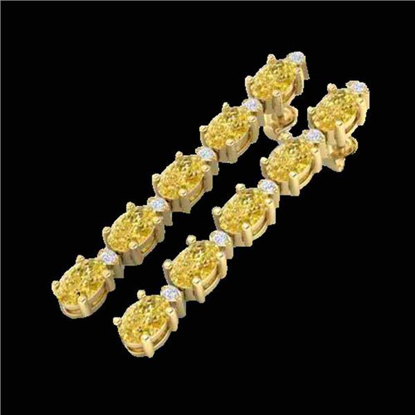 15.47 ctw Citrine & VS/SI Certified Diamond Tennis Earrings 10k Yellow Gold - REF-75K6Y