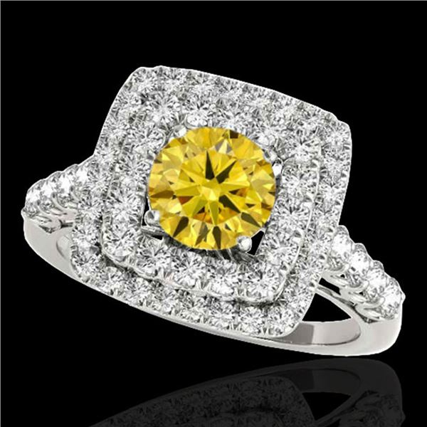 2.3 ctw Certified SI/I Fancy Intense Yellow Diamond Ring 10k White Gold - REF-259G3W