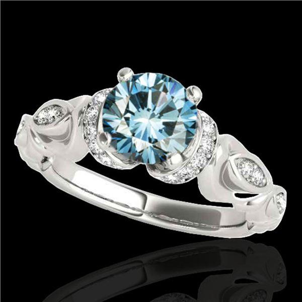 1.2 ctw SI Certified Fancy Blue Diamond Antique Ring 10k White Gold - REF-121R4K