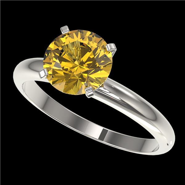 2 ctw Certified Intense Yellow Diamond Engagment Ring 10k White Gold - REF-355N9F
