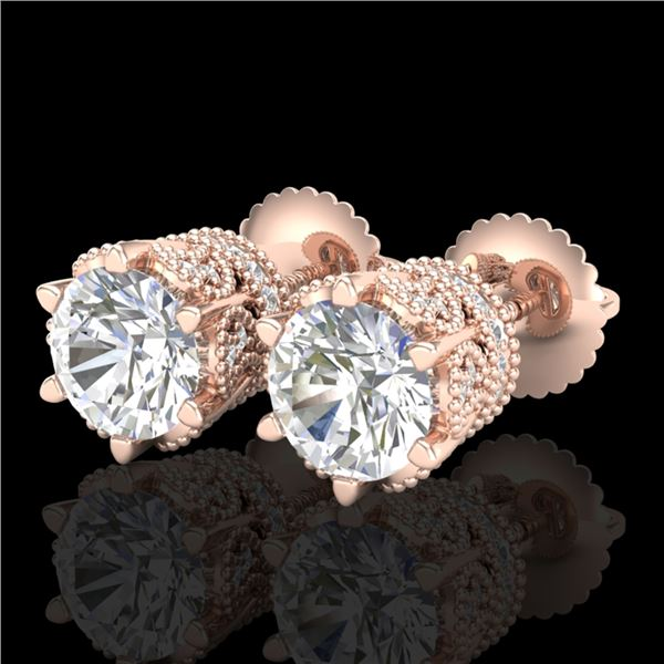 2.04 ctw VS/SI Diamond Solitaire Art Deco Stud Earrings 18k Rose Gold - REF-361G8W