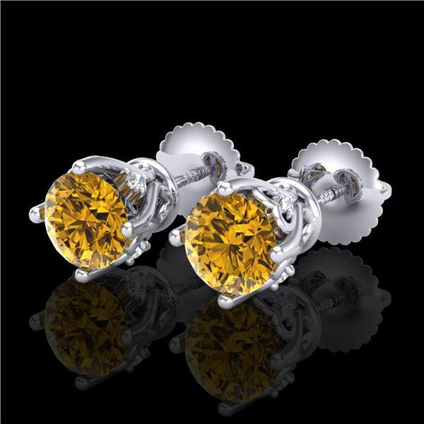 1.26 ctw Intense Fancy Yellow Diamond Art Deco Earrings 18k White Gold - REF-200Y2X