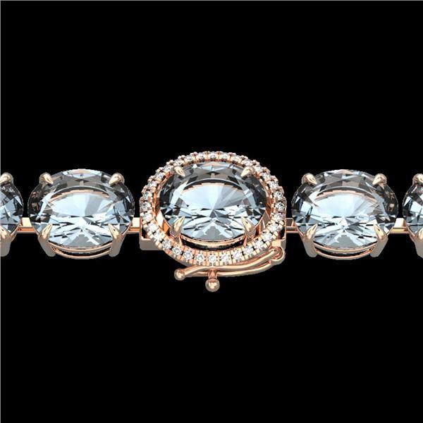 79 ctw Sky Blue Topaz & Micro Diamond Bracelet 14k Rose Gold - REF-229A3N
