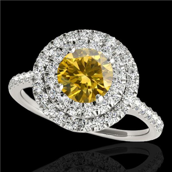 1.5 ctw Certified SI Intense Yellow Diamond Halo Ring 10k White Gold - REF-197K8Y