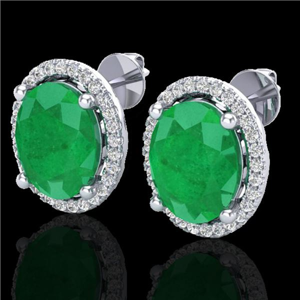 6 ctw Emerald & Micro Pave VS/SI Diamond Earrings 18k White Gold - REF-101M6G