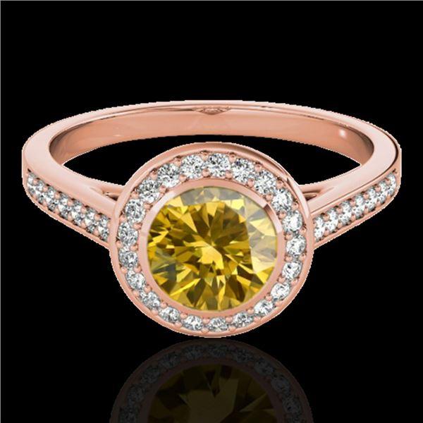 1.3 ctw Certified SI/I Fancy Intense Yellow Diamond Ring 10k Rose Gold - REF-177F3M