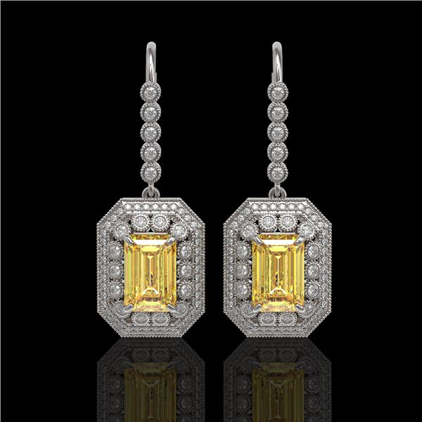 11.44 ctw Canary Citrine & Diamond Victorian Earrings 14K White Gold - REF-243W5H