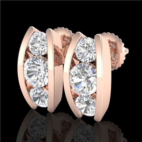 2.18 ctw VS/SI Diamond Solitaire Art Deco Stud Earrings 18k Rose Gold - REF-300A2N