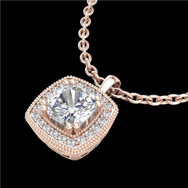 1.25 ctw Cushion VS/SI Diamond Art Deco Necklace 18k Rose Gold - REF-337G5W