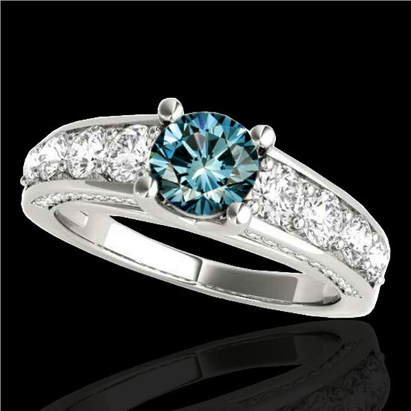 2.55 ctw SI Certified Fancy Blue Diamond Solitaire Ring 10k White Gold - REF-190M9G