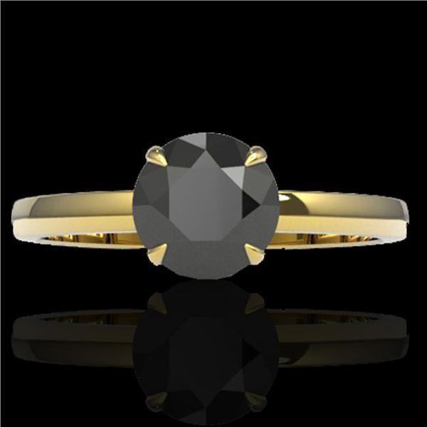 2 ctw Black Diamond Designer Engagment Ring 18k Yellow Gold - REF-83Y6X
