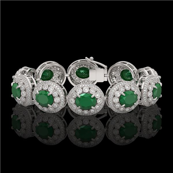 49.17 ctw Emerald & Diamond Victorian Bracelet 14K White Gold - REF-1404Y4X