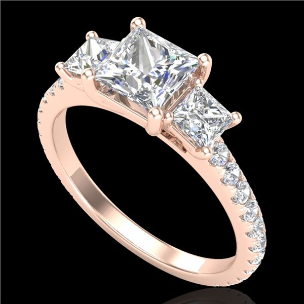 2.14 ctw Princess VS/SI Diamond Art Deco 3 Stone Ring 18k Rose Gold - REF-454Y5X