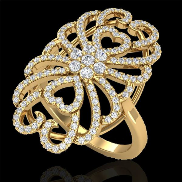 2.25 ctw Micro Pave VS/SI Diamond Designer Ring 18k Yellow Gold - REF-191F3M
