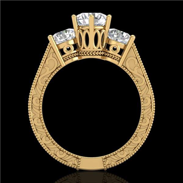 2.01 ctw VS/SI Diamond Solitaire Art Deco 3 Stone Ring 18k Yellow Gold - REF-527X3A