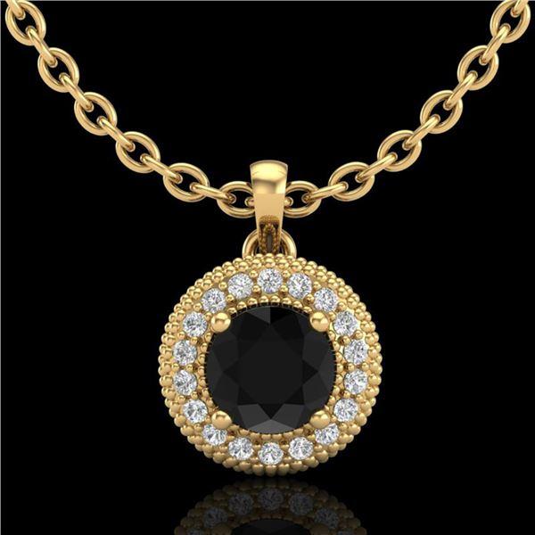 1 ctw Fancy Black Diamond Art Deco Stud Necklace 18k Yellow Gold - REF-76R8K