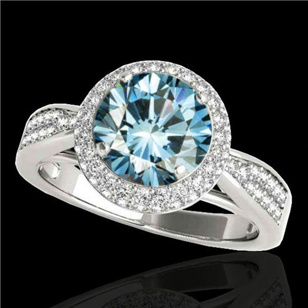 1.65 ctw SI Certified Fancy Blue Diamond Halo Ring 10k White Gold - REF-163R6K