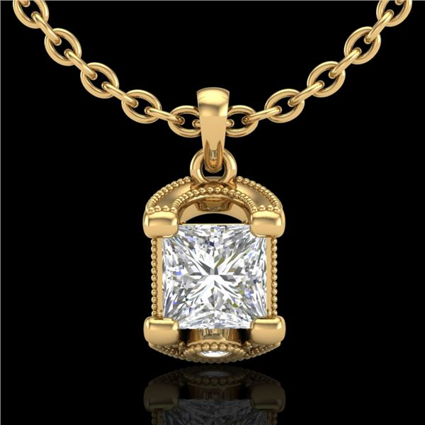 1.25 ctw Princess VS/SI Diamond Art Deco Necklace 18k Yellow Gold - REF-330W2H