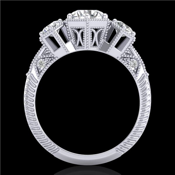 1.66 ctw VS/SI Diamond Solitaire Art Deco 3 Stone Ring 18k White Gold - REF-445M5G