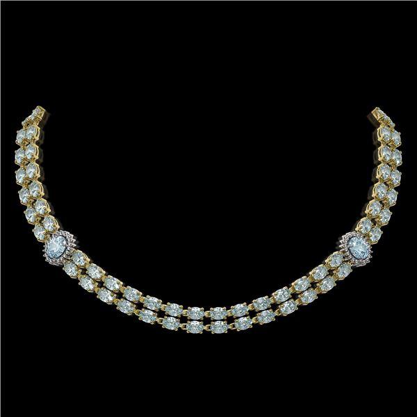 39.28 ctw Sky Topaz & Diamond Necklace 14K Yellow Gold - REF-454A5N
