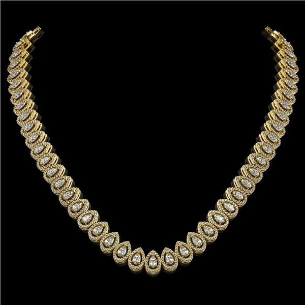 24.19 ctw Pear Cut Diamond Micro Pave Necklace 18K Yellow Gold - REF-2092R6K