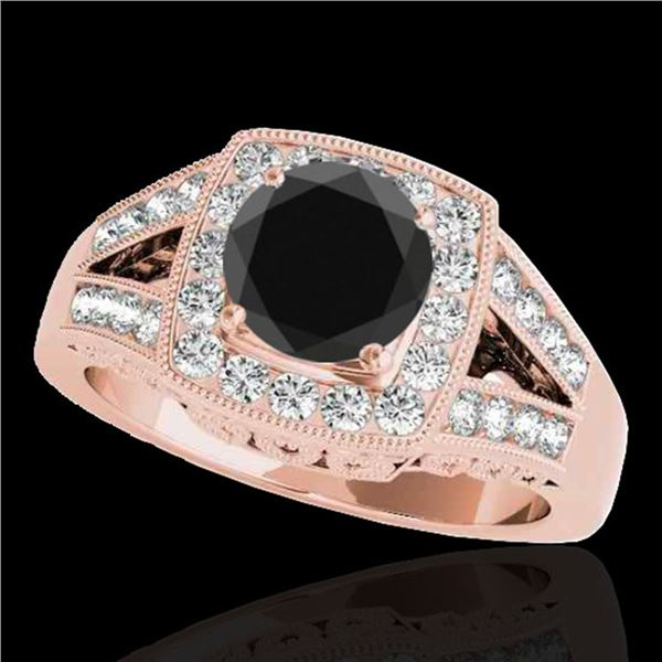 1.65 ctw Certified VS Black Diamond Solitaire Halo Ring 10k Rose Gold - REF-115Y4X