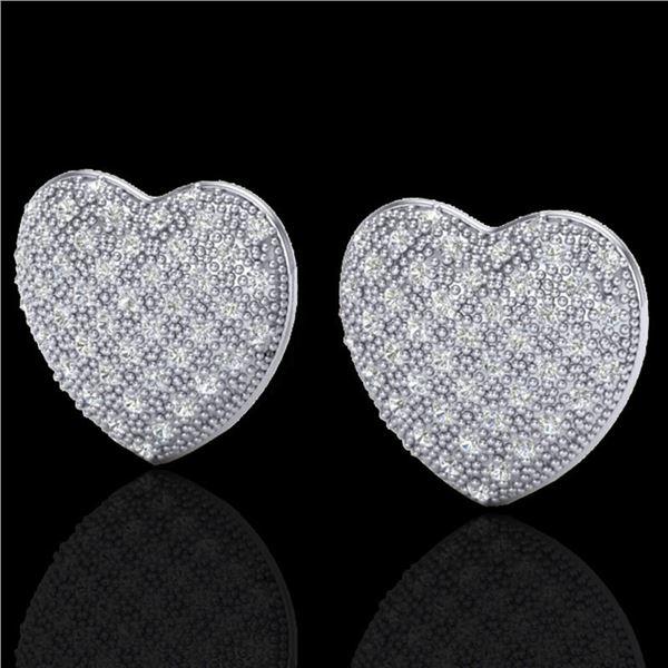1.50 ctw Micro Pave VS/SI Diamond Heart Earrings 14k White Gold - REF-110W4H