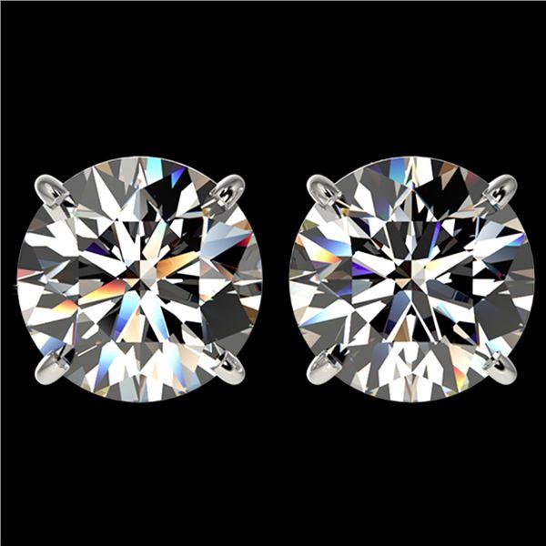 4.04 ctw Certified Diamond Stud Earrings 10k White Gold - REF-862Y5X