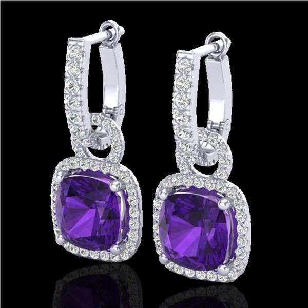 7 ctw Amethyst & Micro Pave VS/SI Diamond Earrings 18k White Gold - REF-118Y2X