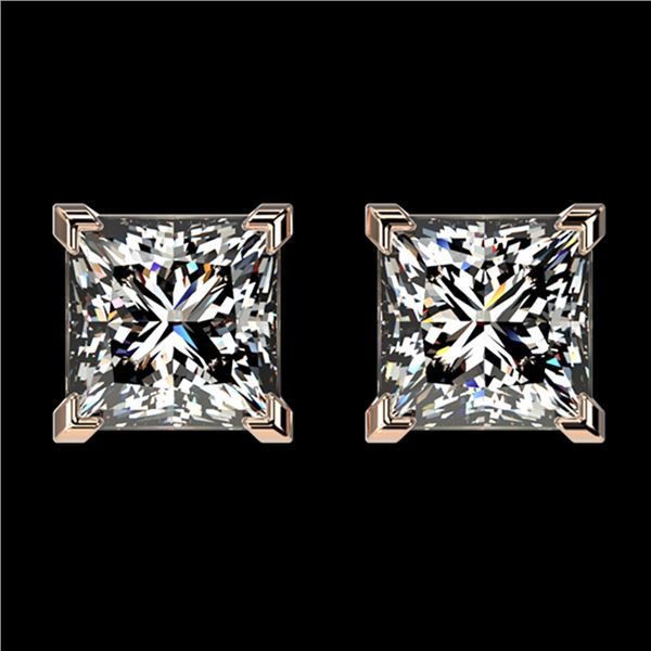 2 ctw Certified VS/SI Quality Princess Diamond Stud Earrings 10k Rose Gold - REF-478M6G