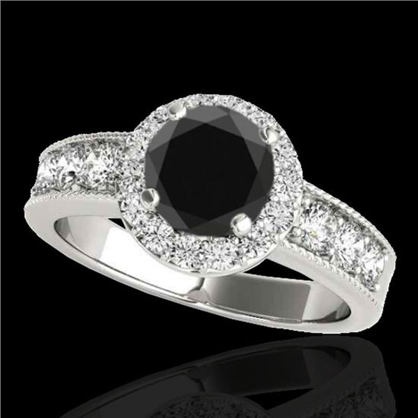 2.1 ctw Certified VS Black Diamond Solitaire Halo Ring 10k White Gold - REF-80K5Y