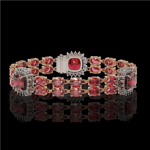 18.93 ctw Tourmaline & Diamond Bracelet 14K Rose Gold - REF-314H8R