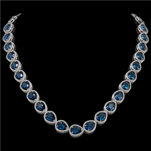44.8 ctw London Topaz & Diamond Micro Pave Halo Necklace 10k White Gold - REF-625R3K