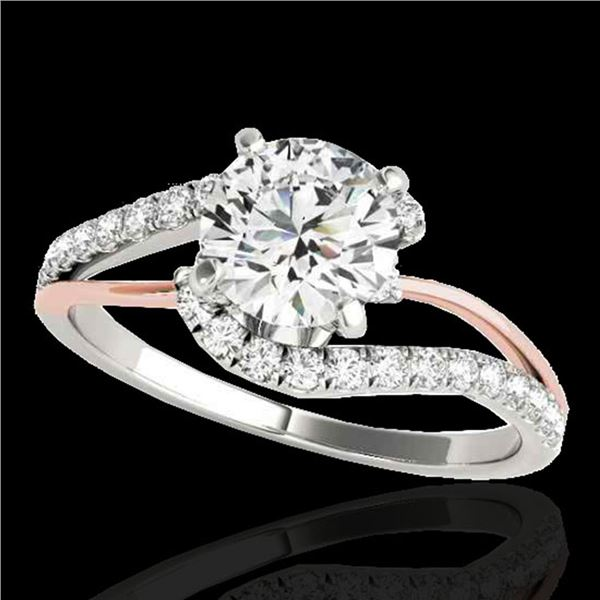 1.35 ctw Certified Diamond Bypass Solitaire Ring 10k 2Tone Gold - REF-190R9K