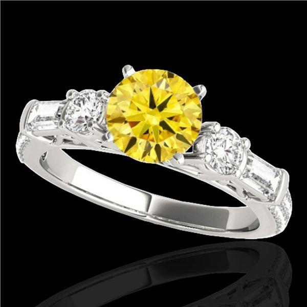 2.5 ctw SI/I Fancy Intense Yellow Diamond Pave Ring 10k White Gold - REF-381A8N