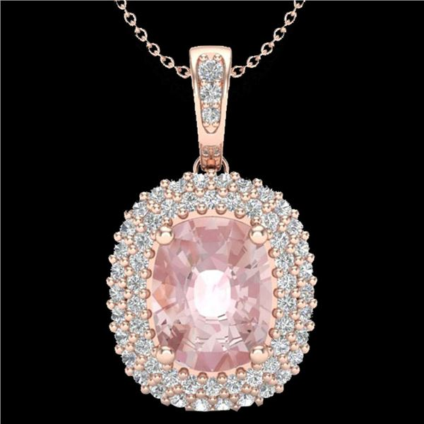 2.75 ctw Morganite & Micro Pave VS/SI Diamond Necklace 14k Rose Gold - REF-89Y3X