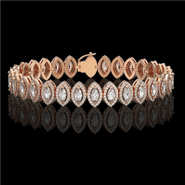 11.13 ctw Marquise Cut Diamond Micro Pave Bracelet 18K Rose Gold - REF-964F2M