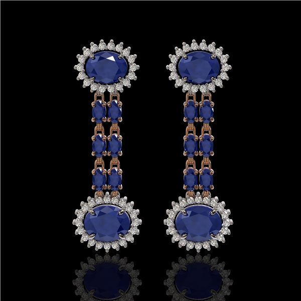 10.23 ctw Sapphire & Diamond Earrings 14K Rose Gold - REF-227X3A