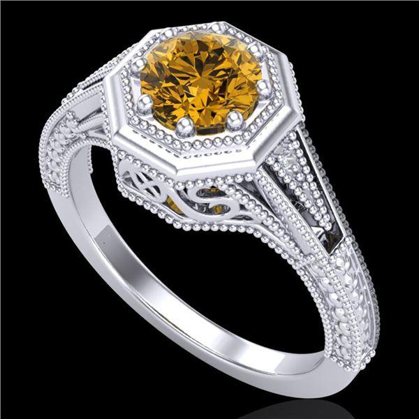 0.84 ctw Intense Fancy Yellow Diamond Art Deco Ring 18k White Gold - REF-161H8R