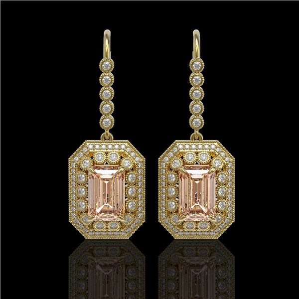 12.1 ctw Morganite & Diamond Victorian Earrings 14K Yellow Gold - REF-410K4Y