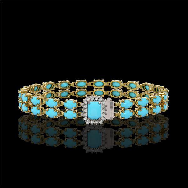 13.04 ctw Turquoise & Diamond Bracelet 14K Yellow Gold - REF-236F4M