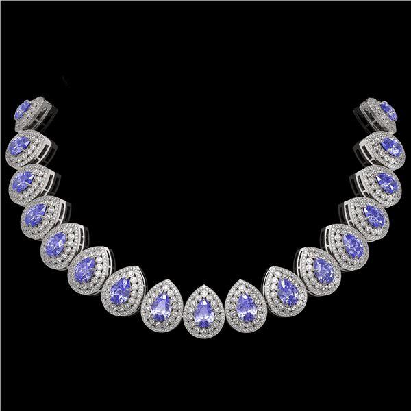 108.42 ctw Tanzanite & Diamond Victorian Necklace 14K White Gold - REF-5818W2H