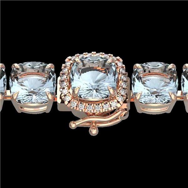 350 ctw Sky Blue Topaz & Micro Diamond Bracelet 14k Rose Gold - REF-158Y2X