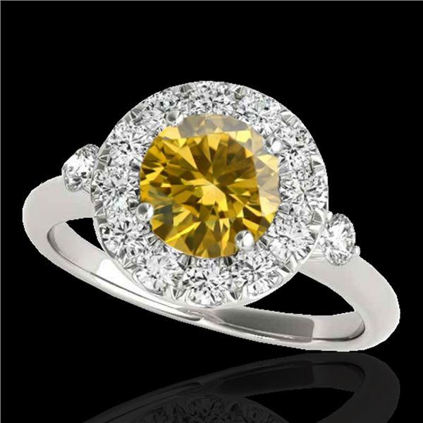 1.5 ctw Certified SI/I Fancy Intense Yellow Diamond Ring 10k White Gold - REF-184N3F
