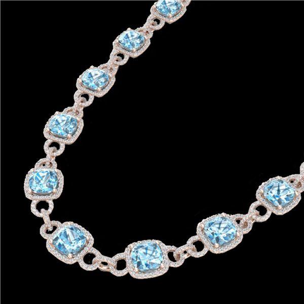 66 ctw TOPAZ & Micro VS/SI Diamond Eternity Necklace 14k Rose Gold - REF-881R8K