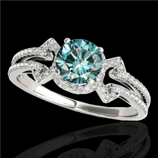 1.36 ctw SI Certified Fancy Blue Diamond Solitaire Ring 10k White Gold - REF-126R8K