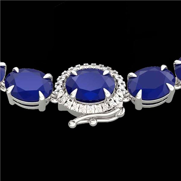 54.25 ctw Sapphire & VS/SI Diamond Micro Pave Necklace 14k White Gold - REF-345H5R