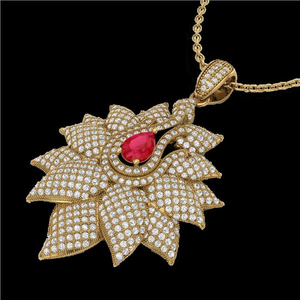 3 ctw Ruby & Micro Pave VS/SI Diamond Necklace 18k Yellow Gold - REF-290A9N