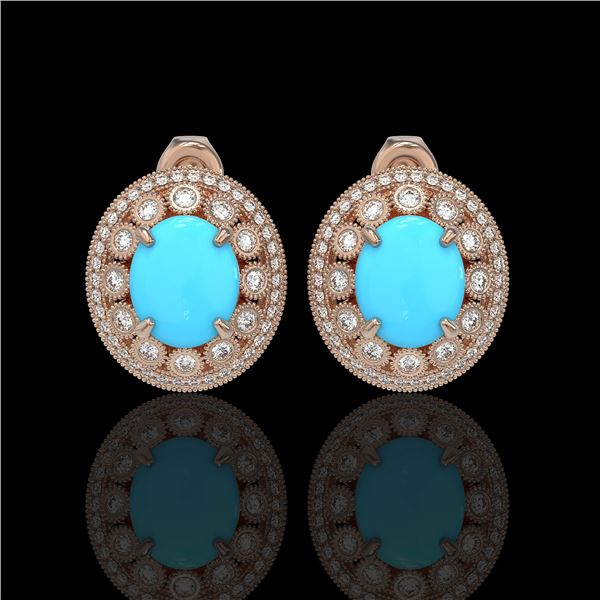 9.21 ctw Turquoise & Diamond Victorian Earrings 14K Rose Gold - REF-266Y4X